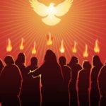 Pentecost - Twelve people standing together, looking up at dove. With a flame of fire on each of their heads