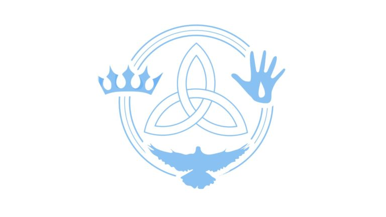 Trinity - A circle with a crown symbol, dove and hand with blood symbol.